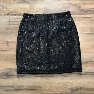 White House Black Market Black Sequined Mini Skirt
